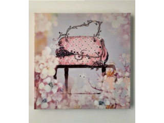 BRAND NEW - Pink Rhinestone Bag CANVAS WALL ART - Fashion Picture Print & Home Decor 40x40cm