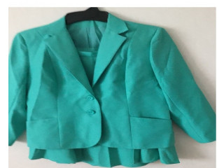 Turquoise Jacket with Matching Skirt size 14-16