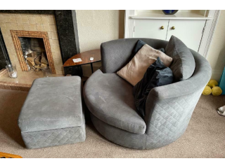 John Posting for 9+ years Corner Swivel Chair with Storage Poof (bought for over 1k!)