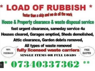 LOAD OF RUBBISH HOUSE GARAGE GARDEN WASTE REMOVAL CLEARANCE SERVICE DEMOLITION MAN AND VAN BERKSHIRE