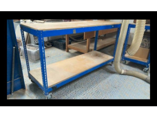Metal Racking Work Benches. Mobile with wheels