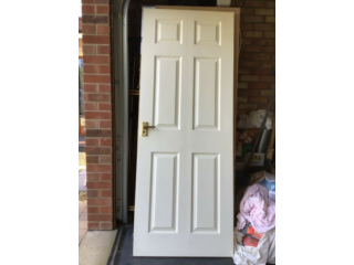 10 used white six panel internal doors with brass hinges and handles, good condition