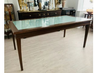 Veneer and glass 8 seater dining table for sale